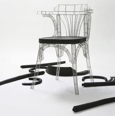 'grid chair' by jaebeom jeong is composed of a welded steel frame fused with a black-walnut seat.   the piece is part of jeong's 'grid series project', which explores the relationship between   computer generated and classical forms.