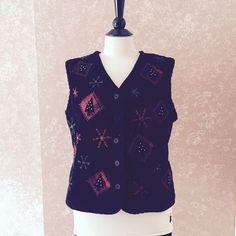 Talbots Ugly Christmas Vest Embroidered Beaded Black Red Snowflake Womens M #Talbots