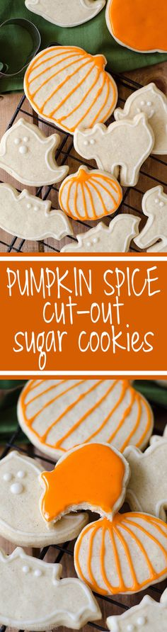 Pumpkin Spice Cut-Out Sugar Cookies No dough chilling necessary for these spiced, soft cut-out sugar cookies that are perfect for decorating with icing and sprinkles. Crisp edges, soft centers, and completely customizable in shape! Pumpkin Recipes, Fall Recipes, Holiday Recipes, Cookie Recipes, Dessert Recipes, Pumpkin Pumpkin, Candy Pumpkin, Fun Desserts, Halloween Cookies