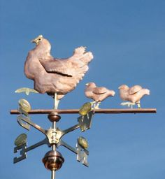 Hen and Chicks Weather Vane by West Coast Weather Vanes. I need one on the coop! Chicken Coop Decor, Chicken Crafts, Chicken Art, Chicken Pictures, Blowin' In The Wind, Rooster Decor, Weather Vanes, Chickens And Roosters, Hens And Chicks