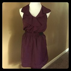 Rachel Roy Dress Dark maroon colored dress with ruffle detail around the neck line, waist band with black elastic. Length 34 inches. Rachel Roy Dresses