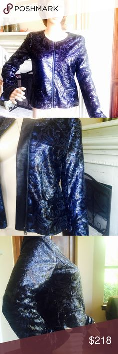 Jor's Jeans Opale Sequined Jacket Sold out. Navy blue. New, never worn. 2 faux zipper pockets, zip up front, small zips at cuffs. Hard to find. Great statement jacket. Size S lined. Joe's Jeans Jackets & Coats Jean Jackets