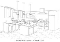 Interior Architecture Drawing, Interior Design Renderings, Interior Sketch, Best Interior Design, Color Interior, Interior Shop, Nordic Interior, Classic Interior, Kitchen Drawing