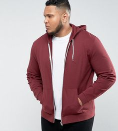 ASOS PLUS Zip Up Hoodie In Red - Red