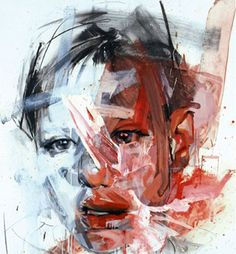 Jenny Saville, Britain {contemporary figurative #expressionist abstract brush stroke head androgynous face portrait smudged texture abstraction grunge painting}