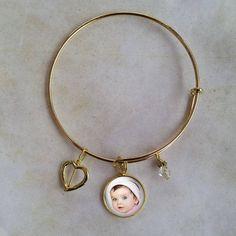 Bangle Custom Photo Charm Bracelet  Adjustable Platinum Photo