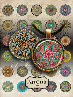 CÍRCULOS recargados marroquíes - para imprimir imágenes digitales de 30 mm para colgantes redondas, bandejas de bisel, cristal cabochon montajes, camafeo ajustes, arte culto