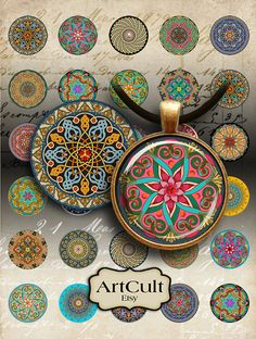 30 mm Printable digital images MOROCCAN ORNATE CIRCLES for round pendants, bezel…