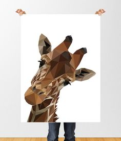 Low Poly Giraffe Printable Art, Giraffe Print, Geometric Poster, Zoo Animal Print, Childrens Art, Nursery Decor, Polygon Animal Print by tothewoodside on Etsy