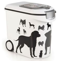 White Pet Food Container Storage Refill Cat Dog Dry Box Feed Lid Wheels New Pet Food Container, Plastic Food Containers, Food Storage Containers, Storage Sets, Dog Food Storage, Storage Boxes, Dog Feeding, Cat Food, Silhouette