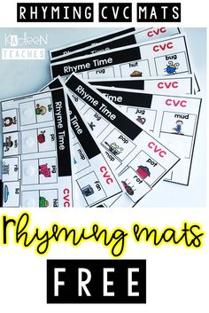 CVC Rhyme Time Interactive Mats. Learning CVC and rhyming patterns. Free resource.