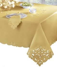 Amazon.com: Homewear Cutwork and Embroidery 60-Inch by 120-Inch Tablecloth, Gold: Home & Kitchen