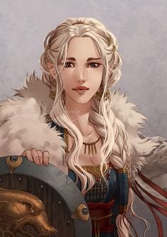 Cendre Portrait by *orpheelin on deviantART. A fantasy female in normal clothing (not armour) and holding a shield.