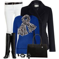 I do not have a bright blue shirt. Would be interested in one. I have all other pieces already in my wardrobe. Also I love houndstooth but already have a houndstooth scarf, pants, dress, coat. Cute Fashion, Fashion Outfits, Womens Fashion, Fashion Trends, Fashion 2014, Fashion News, Style Fashion, Houndstooth Scarf, Cold Weather Fashion
