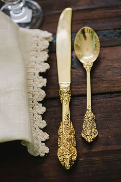 Registry alert — gold is in! Gold place settings add an ornate, vintage look to any tabletop.