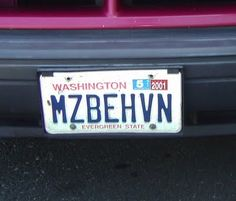 Vanity Plates: Creepiness in 8 Characters or Less: Miss B. Haven, please meet Ann Thrax and her husband, Cy N. Ide