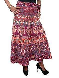 Mogulinterior Long Wrap Skirt Maroon Ethnic cotton Printed Sarong Wrap Around Skirt Dress Hippie Skirts, Boho Skirts, Wrap Skirts, Skirt Fashion, Boho Fashion, Bohemian Style, Hippie Boho, Sarong Wrap, Wrap Around Skirt