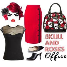 #skulls #skull #office  #RedAndBlack #Pinup #rockabilly #evening #happyhour #vintagestyle #vintage #retrostyle #pinup #fashion #roses #PolkaDots Modern Grease Clothing Co.