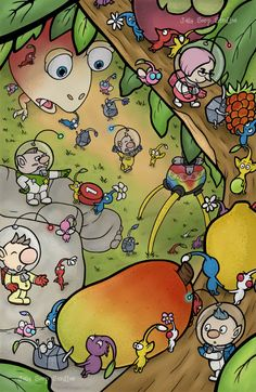 This pikmin artwork took a while to do but I finally got it done.