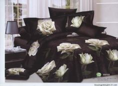 100% cotton white rose flower black floral pattern comforter covers Queen bedding sets 4pc bed linen by bedding