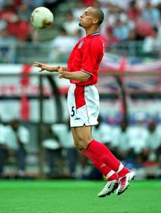 Rio Ferdinand of England in action at the 2002 World Cup Finals. 2002 World Cup, Manchester United Legends, Rio Ferdinand, World Cup Final, Finals, Soccer, England, Action, The Unit