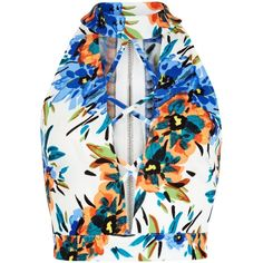 New Look Parisian White Tropical Print Lattice Front Crop Top ($20) ❤ liked on Polyvore featuring tops, white pattern, print top, cropped tops, print crop top, pattern tops and white tops