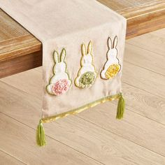 """Springtime Bunny Tails 72"""" Table Runner 