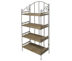 Astoria Grand It can be used as a bookcase or as a storage area. This stylish and practical bookcase with four shelves is made of iron and burned spruce wood. Sitting Bench, Iron Bench, Plant Table, Homestead Living, Flower Stands, Plant Shelves, Dcor Design, Hazelwood Home, Home Additions