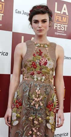 This Valentino floral embroidery gown looks amazing on Keira Knightly