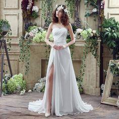 robe de mariée fluide avec fente