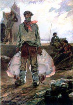 """""""Débarquement d'une pêche de raies"""" - Achille Granchi-Taylor, 1857-1921"""