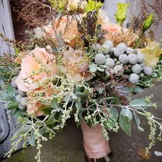 #vintage #bridalbouquet for #wedding #retro #zart #soft #colours #pastels #peach #mimose #roses #brautstrauß