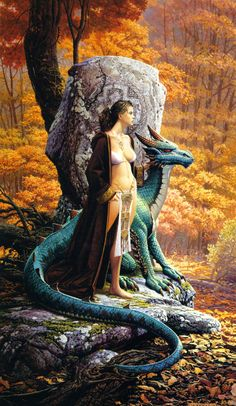 Dragon and woman by raised stone