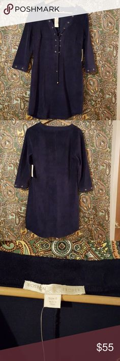 🌻Boston Proper Lace Up Terry Grommet Navy S This dress is new with tags Navy Boston Proper Terry material with grommet accents Size S Boston Proper Dresses