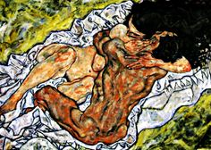 Egon Schiele - Lovers Embrace (Detail)   Egon Schiele was an Austrian painter. A protégé of Gustav Klimt, Schiele was a major figurative painter of the early 20th century. His work is noted for its intensity. The twisted body shapes and the expressive line that characterize Schiele's paintings and drawings mark the artist as an early exponent of Expressionism, although still strongly associated with the art nouveau movement. Brought to you by masterpieceart.net/