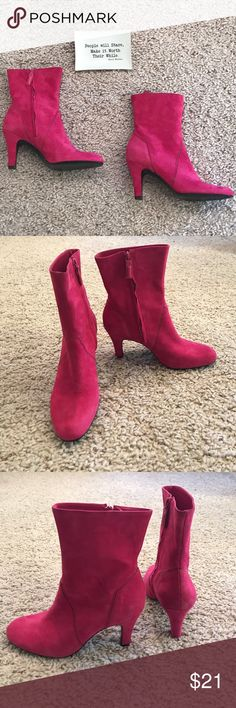 Hot Pink Mid Calf Booties Antonio Melani Hot Pink Suede - Mid Calf booties -Glove fit, with a 3 inch heel. These are not my style but I am sure someone out there can rock these! There is s small nick in the back of the right heel. I posted a photo. Please feel free to make an offer! ANTONIO MELANI Shoes Ankle Boots & Booties