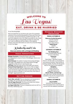 Welcome Letter, Wedding Welcome Letter, Las Vegas Wedding, Wedding Weekend Itinerary, Destination Wedding Welcome Letter, Wedding Timeline