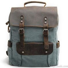 Retro Large Thick Canvas Travel Bag Splicing Leather Laptop Camping Backpack #campingbackpacks
