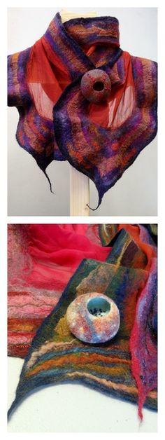 Fine merino and silk scarves by Heather Potten