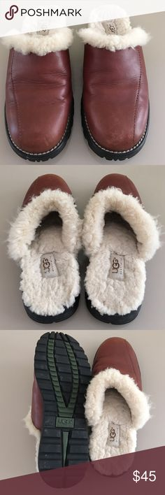 UGG Brown Leather Clogs Mules UGG Shearling Lined  Brown Leather Clogs.  Sign of wear from normal wear. In great used condition! No trades Thank you😊 UGG Shoes Slippers