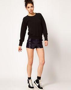 Love these fab shorts <£ #Iwant #wishlist #BestNightEver xx ASOS WHITE Cracked PU Shorts