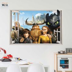 Kids bedroom 3d wall sticker vinyl decal window view How to train your dragon? from stick2wall.com