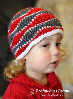 Crochet 'brainwaves' beanie hat for boys http://www.ravelry.com/patterns/library/brain-waves-beanie