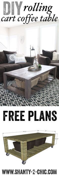Love this DIY Crate Coffee Table on Wheels! Perfect project to recycle old pallet wood too! Free plans at www.shanty-2-chic...