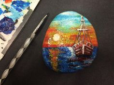 Вот бы уплыть в море на такой лодке. Любоваться закатом и морем.  I wish to swim in the sea on a boat. Enjoy the sunset and the sea.  #art #artwork #paintedrocks#paintedstones #arts #artstagram #artshow#artlife #artgallery #artpop #sunset #painting #instagramanet#instatag #drawing #boat #sea #stoneart#instaart #искусство #творчество #море #закат #лодка  #инстаарт #инстаграманет #краскижизни #рисование #рисованиенакамне