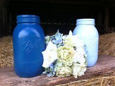 Mason Jar Centerpiece Light Blue Dark Blue by DownInTheBoondocks