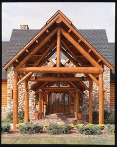 Impressive entry way to this log home.