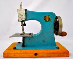 Vintage Blue Children's Toy Sewing Machine from by LaTodera, $29.99