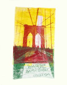 - Brooklyn Bridge, N.Y.C. nr. 1. created from her own photos of New York City in 2008; unique monotype in collage art technique; by Dutch graphic artist Hilly van Eerten