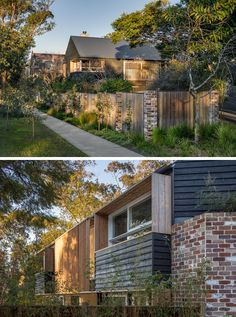 This Australian home has windows that are surrounded by timber shadow rails and screens, and the fence is a combination of wood and bricks to match the home.